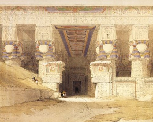 david-roberts-the-facade-of-the-temple-of-hathor-at-dendera