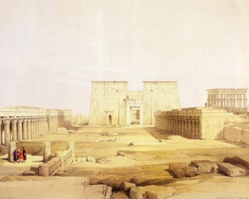 david-roberts-the-great-colonnade-in-front-of-the-temple-of-isis-at-philae